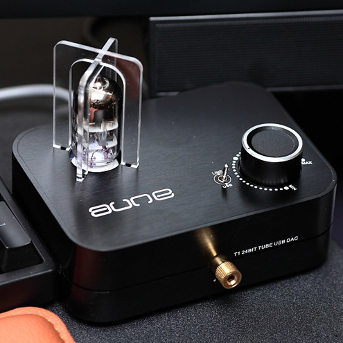 Aune Audio T1 24BIT TUBE 6922 Earphone Amp USB DAC Silver Luxury Version